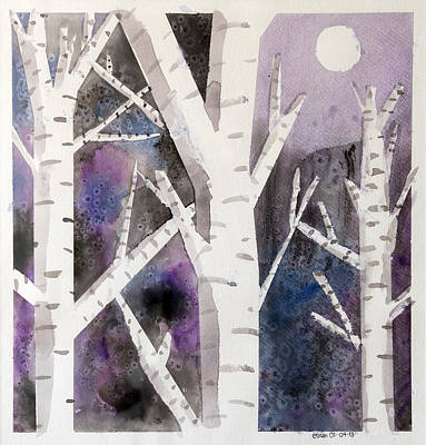Birch Trees In Moonlight Art Print by Ethan Altshuler