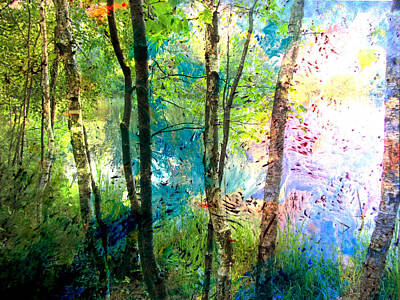 Digital Art - Birch Trees Lake Wide And Abstract Painting by Anita Burgermeister