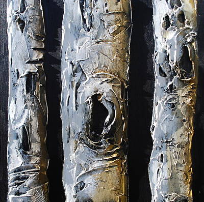 Grouping Mixed Media - Birch Trees by Lori McPhee