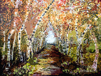 Painting - Birch Trees Modern Mixed Media Art by Ginette Callaway