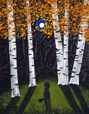 Labradoodle Painting - Birch Trees by Todd Young
