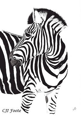 South Africa Zebra Painting - Birchells Zebra In Kruger by Celia Foote
