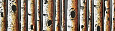 Birches A Touch Of Red Art Print by Lori McPhee