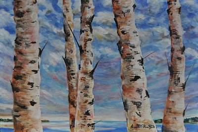 Painting - Birches By The Bay by Heather Kertzer