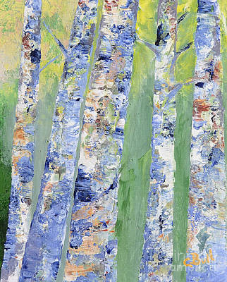Original featuring the painting Birches by Claire Bull