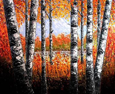 Birches Forest Palette Knife Painting Art Print