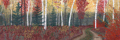 Pastel - Birches by George Burr
