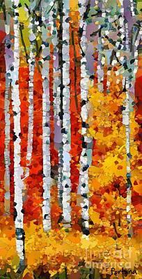 Birch Painting - Birches In Autumn by Dragica  Micki Fortuna