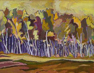 Birches In Autumn Art Print by Janet Ashworth