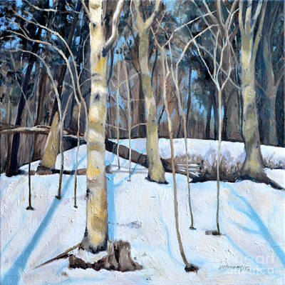 Painting - Birches In The Snow by Joan McGivney