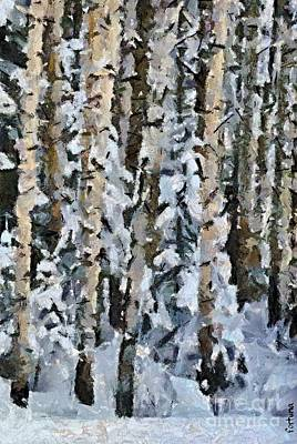 Snow Painting - Birches In The Winter by Dragica  Micki Fortuna