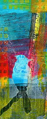 British Abstract Art Painting - Singing Bird by Shuya Cheng