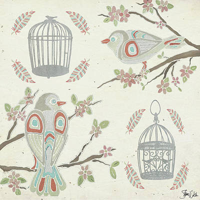 Cage Painting - Bird And Cage Pattern by Shanni Welsh
