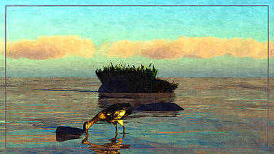 Digital Art - Bird And Rocks... by Tim Fillingim