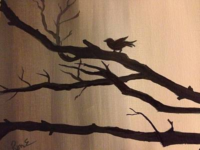 Monotone Painting - Bird At Twilight by Ronnie Egerton