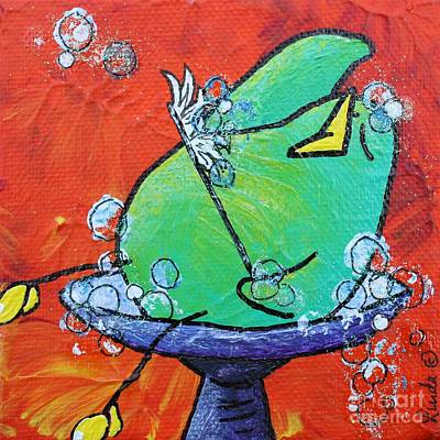 Bubbles With Children Painting - Bird Bath #2 by LimbBirds Whimsical Birds