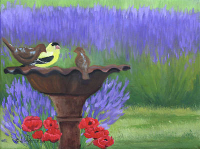 Bird Bath Painting - Bird Bath by Julie Peterson