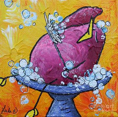 Bubbles With Children Painting - Bird Bath by LimbBirds Whimsical Birds
