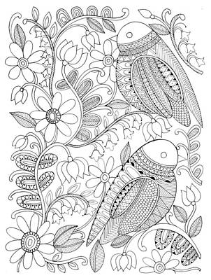 Intricate Drawing - Bird Birds 1 by Neeti Goswami