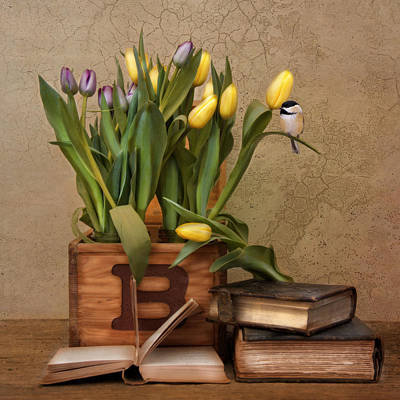 Photograph - Bird Books Blossoms by Robin-Lee Vieira