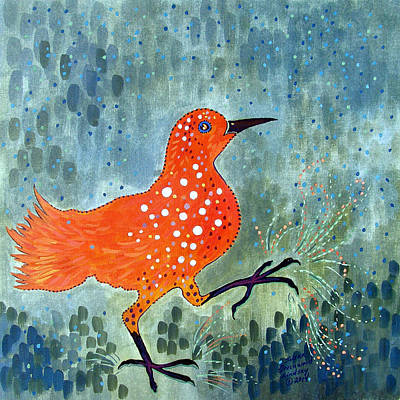 Painting - Bird Brain Rain Dance by Susan Greenwood Lindsay