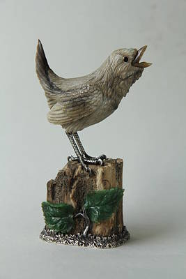 Bird Carving Wren Original