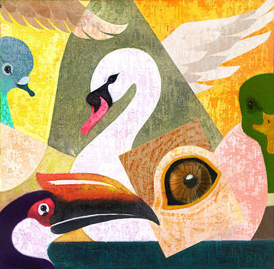 Hornbill Painting - Bird Composition by Renu K