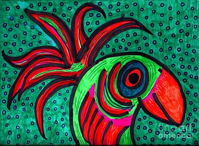 Animals Drawings - Bird Elegance by Sarah Loft