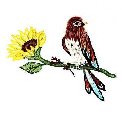 Tapestry - Textile - Bird Embroidery With Sunflower    by Stephanie Callsen