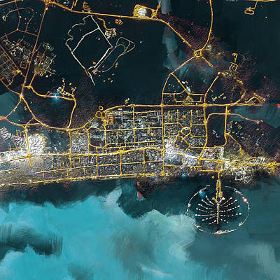 Global Painting - Bird Eye View - Dubai by Corporate Art Task Force