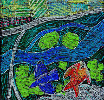 Satellite Drawing - Bird Flying Over Landscape And Fish Swimming In River  by Genevieve Esson