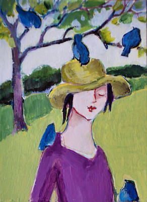 Painting - Bird Girl 3 by Diane Ursin