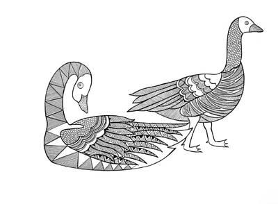 Goose Drawing - Bird Goose Geese by Neeti Goswami