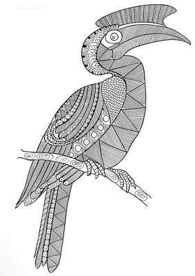 Hornbill Wall Art - Drawing - Bird Hornbill by Neeti Goswami