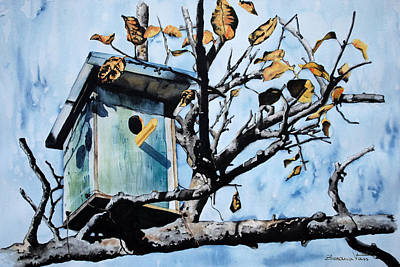 Animal Wall Art - Painting - Bird House by Zuzana Vass