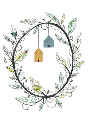 Vines Painting - Bird Houses And Wreath by Sarah Ogren