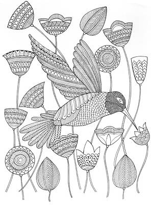 Intricate Drawing - Bird Hummingbird 2 by Neeti Goswami