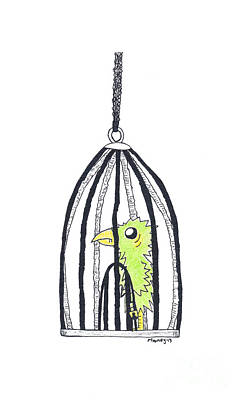 Watercolor With Pen Drawing - Bird In A Cage 1 by Michael Mooney