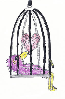 Watercolor With Pen Drawing - Bird In A Cage 2 by Michael Mooney