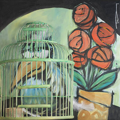Whimsical Painting - Bird In Cage With Potted Plant by Tim Nyberg