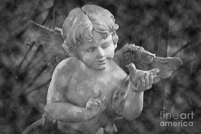 Photograph - The Cherubs Conversation - Bw Clouds by Lesa Fine