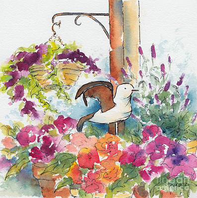 Painting - Bird In The Begonias by Pat Katz