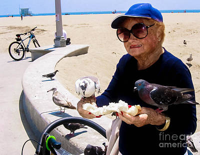 Photograph - Bird Lady Of Santa Monica by Angela J Wright