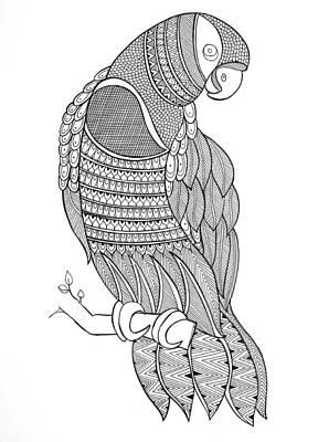 Macaw Drawing - Bird Macaw by Neeti Goswami