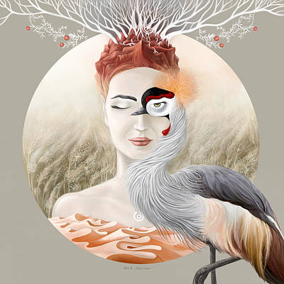 Bird Of Cranes Print by Ruta Dumalakaite