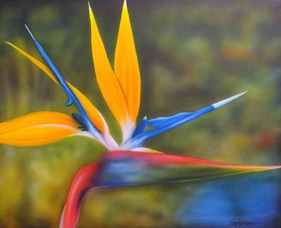 Large Flower Painting - Bird Of Paradise by Darren Robinson