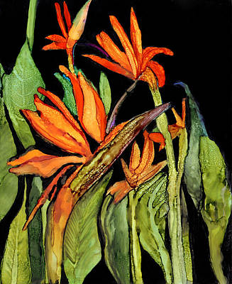 Alcohol Ink Painting - Bird Of Paradise  by Elaine Hodges