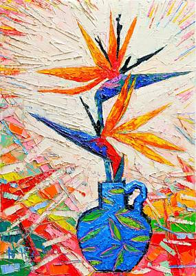 Bouquets Of Pink Flowers Green Blue Painting - Bird Of Paradise Flowers by Ana Maria Edulescu