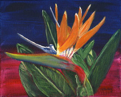 Painting - Bird Of Paradise In Acrylic by Linda Feinberg