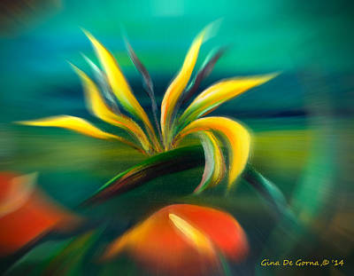 Mixed Media - Bird Of Paradise In Flight by Gina De Gorna